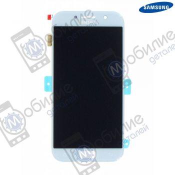 Дисплей Samsung A5 2017 (модуль экран + сенсорное стекло) A520 Silver/Blue, GH97-19733С